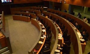 Un moment de la sessió d'ahir al Consell General, en la qual Marc Magallón i Judith Salazar van participar de forma telemàtica.