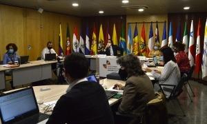 Un moment de la primera jornada de la reunió extraordinària de coordinadors nacionals i responsables de cooperació iberoamericans.