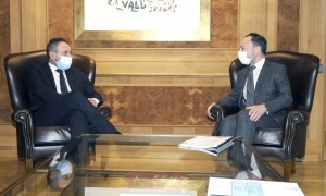 Xavier Espot i Luca Beccari, aquest dilluns al despatx del cap de Govern.