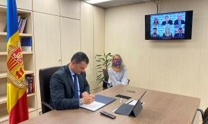 El ministre de Presidència, Economia i Empresa, Jordi Gallardo, i la directora d'Invest Andorra, Judit Hidalgo.