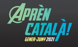 La imatge del díptic que anuncia els cursos de català.