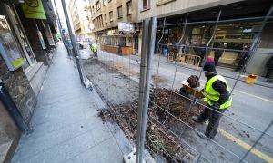 Les obres al carrer Callaueta, que han començat aquest dilluns.