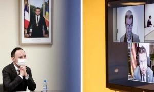 Espot en una trobada telemàtica amb Pere Aragonés.