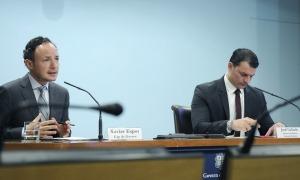 El cap de Govern, Xavier Espot, i el ministre de Presidència i Economia, Jordi Gallardo, en la roda de premsa d'aquesta tarda.