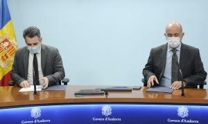 Eric Jover i Joan Martínez Benazet en la roda de premsa d'aquesta tarda.