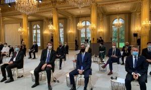 Una imatge d'alguns dels ambaixadors que han presentat les cartes credencials a Macron.