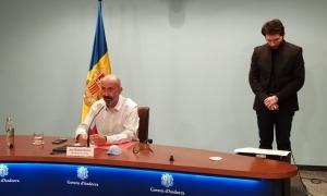 El ministre de Salut, Joan Martínez Benazet, durant la roda de premsa d'aquest matí.