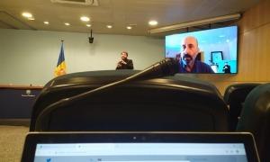 Un moment de la compareixença del ministre de Salut, Joan Martínez Benazet, d'aquest migdia.
