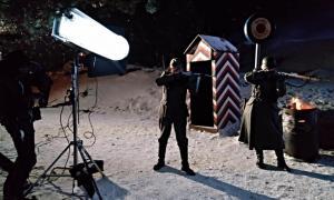 Soldats alemanys a la (suposada) duana del Pas: el rodatge de 'Le Blizzard' va tenir lloc el desembre del 2017.