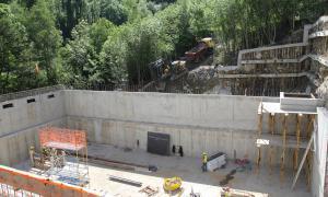 Una imatge de la construcció del nou dipòsit d'aigua