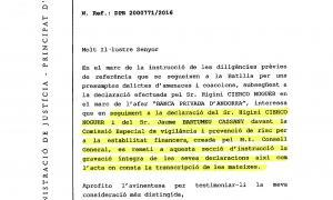 La Batllia demana les gravacions de la declaració de Cierco i Bartumeu