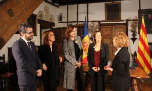ANA/ La ministra d'Educació, Joventut i Esports, Olga Gelabert; el ministre d'Educació i Ensenyament Superior, Eric Jover; la directora general de Política Lingüística de la Generalitat de Catalunya, Ester Franquesa, i la consellera de Cultura de la Generalitat de Catalunya, Laura Borràs, avui.