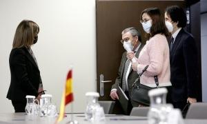 La ministra Ester Vilarrubla rep la delegació espanyola en la trobada de la comissió mixta d'Educació.