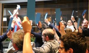 Un moment del congrés de L'A del juny passat en què es va aprovar el pacte amb el PS.