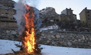Segons la tradició en funció de com cremi l'arbre la resta d'hivern serà dur o suau.