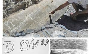"""A dalt, el conjunt de gravats al peu de la casa Erxa, amb les sigles """"P O"""" que Remolins creu que podrien correspondre a les que el pastor cerdà Pierre Orriols va deixar gravades a finals del XIX a la zona d'Err (a baix); a la dreta, la mateixa penya, tal com se la va trobar Pere Canturri el 1980, quan el jaciment es va documentar per primera vegada."""