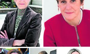 Susanna Vela (Partit Socialdemòcrata), Roser Suñé (Demòcrates), Raquel Fernàndez (Units pel Progrés d'Andorra), Paquita Mora (Andorra Sobirana) i Sandra Cano (Progressistes-SDP).