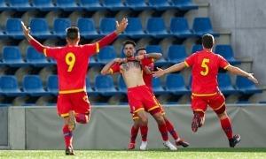 Christian García celebrant un gol amb la selecció sub-21. Foto: FAF