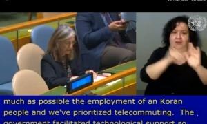 Un moment de la intervenció d'Elisenda Vives a la Conferència dels Estats Part de la CDPD.