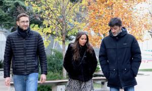 Els candidats demòcrates, Josep Travé, Laura Lavado i Pere Garcia.