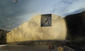 Imatge de la façana que tindrà l'edifici que acollirà el centre comercial Epizen.