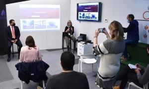Un moment de la presentació del portal per potenciar la internacionalització d'Actua Empresa.