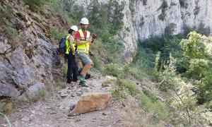 Una esllavissada talla l'accés al Congost de Mont-rebei per Sant Esteve de la Sarga, al Pallars Jussà