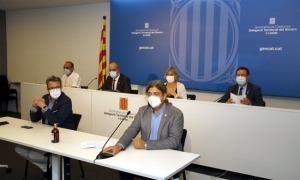 Un instant de la roda de premsa per anunciar el confinament de Lleida.