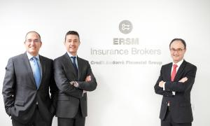 Ricard Soler, conseller delegat d'ERSM Insurance Brokers; Josep Mulà, director general d'ERSM Insurance Brokers, i Josep Brunet, director del Grup Assegurador de Crèdit Andorrà.