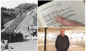 L'escala de la pedrera de Mauthausen, amb els 186 funestos esglaons; a dalt, fitxa de Joaquim Moliné Pallarés a 'Catalans als camps nazis', de Montserrat Roig; a baix, Pere Moliné, rere el fil de pues que il·lustra l'exposició 'Més enllà de Mauthausen', fins al 19 de maig al CAEE escaldenc.