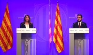 La consellera de Presidència, Meritxell Budó, i el vicepresident de la Generalitat, Pere Aragonès.