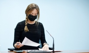 La secretària d'Estat de Salut, Helena Mas, en la compareixença d'aquest migdia.
