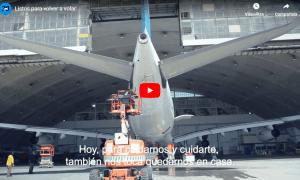 Imatge del vídeo promocional d'Aerolíneas Argentinas durant la Covid-19.