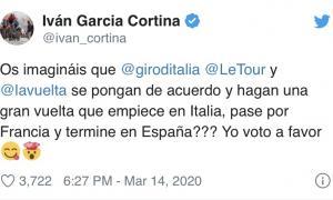 Iván García Cortina, en el seu twitter