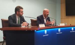 Eric Jover i Joan Martínez Benazet en la compareixença d'aquest migdia.