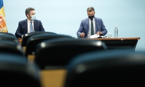 El ministre Eric Jover i el secretari d'Estat de Medi Ambient i Sostenibilitat, Marc Rossell.