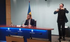 El ministre de Finances i portaveu de l'executiu, Eric Jover, en la compareixença d'aquest migdia.