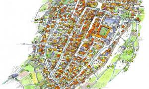 Reconstrucció ideal de la ciutat de la Seu al segle XIV: Villaró calcula que tenia entre 1.400 i 1.500 habitants.