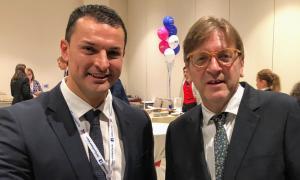 Jordi Gallardo amb el president del grup parlamentari de l'ALDE.