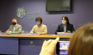 Ferran Costa, Carles Enseñat i Carles Naudi en una compareixença anterior.