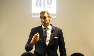 ANA/ El director de l'oficina digital d'Andorra Telecom, Cèsar Marquina, durant la presentació de l'acte.