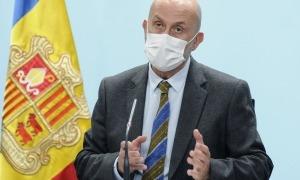 El ministre de Salut, Joan Martínez Benazet, en la compareixença d'aquest migdia.