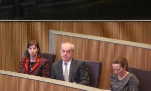 ANA/ El ministre de Salut, Carles Álvarez, al centre, durant la sessió de Consell General.