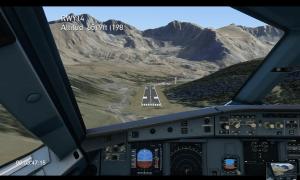 Simulació de la vista de la pista des d'un avió en l'arribada a l'aeroport de Grau Roig.