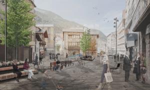 Imatge de la plaça del Consell d'Encamp un cop remodelada.