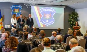 a ministra Sílvia Calvó, el cap de Govern, Xavier Espot, i el director de banders, Miquel Rossell, en l'acte d'ahir.