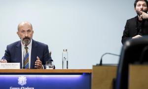 El ministre de Salut, Joan Martínez Benazet, durant la compareixença d'ahir per exposar l'evolució de l'epidèmia de Covid-19.