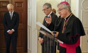El copríncep episcopal, Joan-Enric Vives, pronunciant el seu discurs.