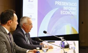 El president de la CCIS, Miquel Armengol, en presència del cap de Govern, Xavier Espot, va presentar ahir l'Informe econòmic 2018.