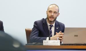 El secretari general del Govern, Jordi Casadevall, en la compareixença d'ahir.